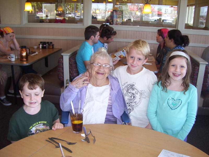 kids and GG at IHOP